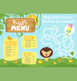 kids food menu design template vector image