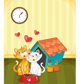 Kittens in love vector image vector image