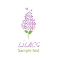 lilac flower logo design text hand drawn vector image vector image
