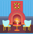living room decorated merry christmas happy new vector image