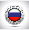 made in russia flag metal icon vector image vector image