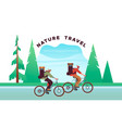 nature travel concept people in bike vacation vector image