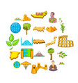 planet earth icons set cartoon style vector image vector image
