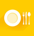 plate with spoon knife fork on a yellow background vector image