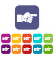 pointing hand gesture icons set vector image vector image