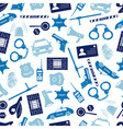 police icons blue color seamless pattern eps10 vector image vector image