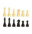 realistic detailed 3d wooden chess pieces set vector image