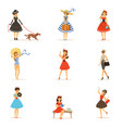 retro girls characters set beautiful young women vector image vector image