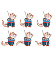 samurai mouse walk sprite vector image vector image