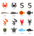 seafood and fish icons set with two types of vector image