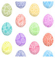 seamless pattern of easter eggs with hand drawn vector image