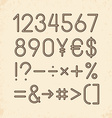 set - Numbers and other symbols Retro typography vector image