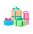 set of cardboards decorated by bows in color vector image vector image