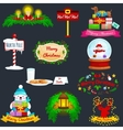 Set of greeting cards Merry Christmas and a Happy vector image vector image