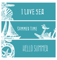 Set of hand drawn sea themed banners vector image vector image