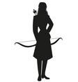 silhouette woman dressed in winter sportswear vector image