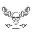 skull with wings isolated on white background vector image vector image