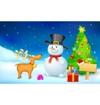 Snowman and Reindeer in Christmas Night vector image