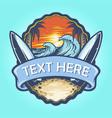 surf board logo landscape vintage vector image