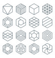 thin line hexagon symbol set vector image