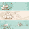 Vintage horizontal banners with sailing ships vector image vector image