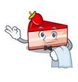 waiter strawberry cake mascot cartoon vector image vector image