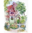 Watercolor painting of house in woods vector image vector image