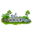 wolf are playing in the garden vector image vector image