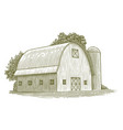 woodcut round roof barn vector image