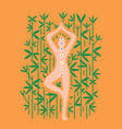 yoga meditation pose on bamboo background vector image