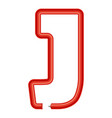 letter j plastic tube icon cartoon style vector image