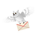 animated polar owl holding a letter in its paws vector image vector image
