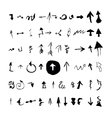 Arrows set hand drawn with ink in brush vector image vector image
