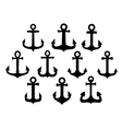 Black silhouettes of vintage nautical anchors vector image