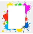 blank paper on colored splashes background vector image vector image