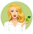 blonde girl holding in hand an apple on green vector image