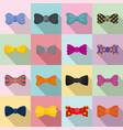 bowtie ribbon man tuxedo icons set flat style vector image