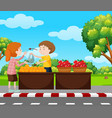 boy selling fruits on pavement vector image vector image