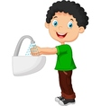 boy washing his hands on a white background vector image