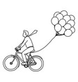 businessman riding bicycle with balloons vector image vector image
