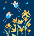 cheerful elves girls flying over daffodils vector image