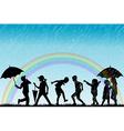 Children silhouettes enjoy the rain vector image vector image