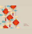 chinese new year banner with red lanterns vector image vector image