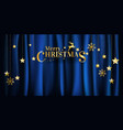 christmas gold on blue fabric background vector image vector image