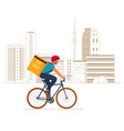 delivery boy on bicycle with yellow backpack vector image vector image