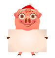 funny pig in santa hat holding empty blank banner vector image vector image