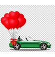 green cartoon cabriolet car with bunch of red vector image vector image
