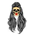 hand drawn dead woman skull vector image