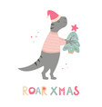 hand drawn holiday t-rex with christmas gift vector image vector image
