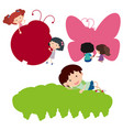 happy children and silhouette insects vector image vector image